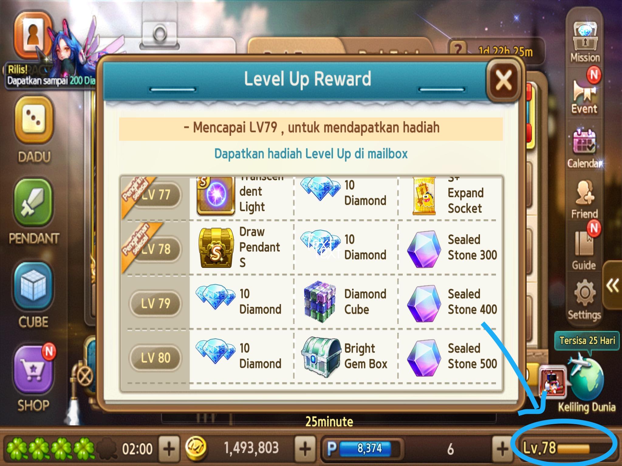 bar status level exp di lets get rich indonesia